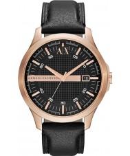 Armani Exchange AX2129 Mężczyzna róży złocisty czarny skórzany pasek strój zegarek