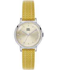 Orla Kiely OK2027 Patricia Ladies macierzystych druku żółty skórzany pasek zegarka