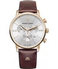 Maurice Lacroix EL1098-PVP01-111-1 Męska Eliros brązowy skórzany zegarek chronograf