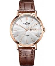 Rotary GS05304-02 Męskie zegarki Windsor wzrosła pozłacane brązowy skórzany pasek zegarka