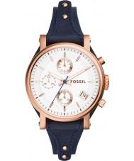 Fossil ES3838 Panie oryginalny chłopak skóry niebieski zegarek chronograf
