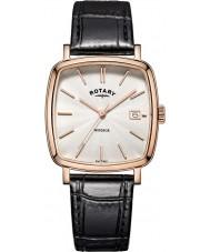 Rotary GS05309-01 Męskie zegarki Windsor wzrosła pozłacane czarny skórzany pasek zegarka