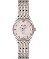 Rotary LB08000-18 Panie ultra płaski srebrny zegarek ton stali