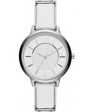 Armani Exchange AX5300 Panie biały skórzany pasek sukni zegarek
