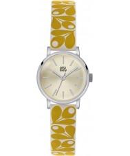 Orla Kiely OK2037 Patricia Ladies żołądź druku żółty kremowy skórzany pasek zegarka