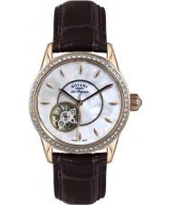 Rotary LS90515-41 Panie les originales jura automatyczne brązowy skórzany pasek do zegarka