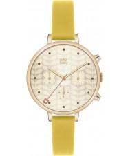 Orla Kiely OK2038 Panie bluszcz chronografu złota żółty skórzany pasek zegarka