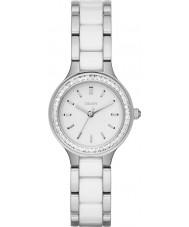 DKNY NY2494 Komory damskie białe ceramiczne linki stalowej zegarek