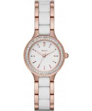 DKNY NY2496 Komory damskie białe linki ceramiczne wzrosła złoty zegarek