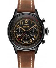 Dogfight DF0032 Mężczyźni skrzydłowym brązowy skórzany zegarek chronograf