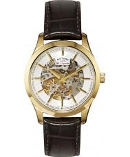 Rotary GS90526-06 Mężczyźni les originales automatyczne szkielet złoto brązowy zegarek