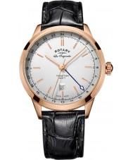Rotary GS90183-02 Mężczyźni les originales tradycja czarny skórzany pasek do zegarka