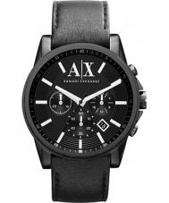 Armani Exchange AX2098 Mens czarny skórzany pasek zegarka Chronograph strój