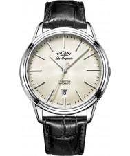 Rotary GS90161-32 Mężczyźni les originales tradycja automatyczne nierdzewnej czerni skórzany pasek zegarka