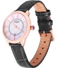 Rotary LS02919-41 zegarki damskie elise czarny skórzany pasek zegarka