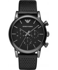 Emporio Armani AR1737 Klasyczne męskie chronograf ip czarny skórzany pasek zegarka