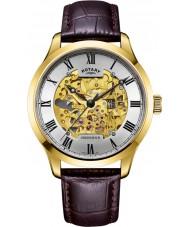 Rotary GS02941-03 Męskie zegarki pozłacane brązowy zegarek mechaniczny szkielet