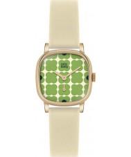 Orla Kiely OK2052 Cecelia Women zielona kwiatowa Krem skórzany pasek zegarka