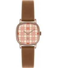 Orla Kiely OK2056 Cecelia Ladies różowy kwieciste tan skórzany pasek zegarka