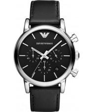 Emporio Armani AR1733 Klasyczne męskie chronograf czarny skórzany pasek zegarka