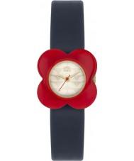 Orla Kiely OK2062 Panie czerwony kwiat maku przypadku granatowy pasek skórzany zegarek
