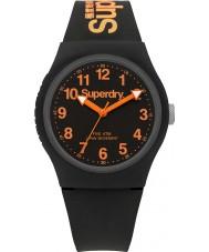 Superdry SYG164B Miejskie czarny silikonowy pasek zegarka