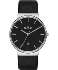 Skagen SKW6104 Mens ancher czarny skórzany pasek zegarka