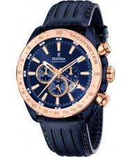 Festina F16897-1 Mężczyźni Prestige niebieskie skórzane Chronograph zegarek