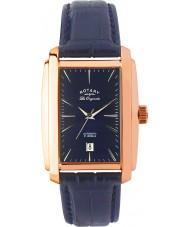Rotary LE90014-05 Mężczyźni les originales różowe złoto niebieski zegarek automatyczny
