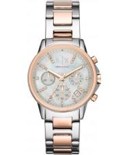 Armani Exchange AX4331 Panie srebrne i różowe złoto strój zegarek chronograf