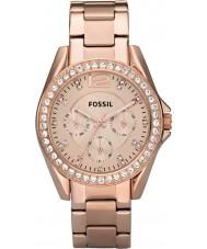 Fossil ES2811 Panie Riley różowe złoto stalowy zegarek chronograf