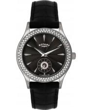 Rotary LS02908-04 Kamień Ladies zestaw czarny zegarek