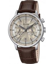 Festina F16893-7 Mężczyzna retro brązowy skórzany zegarek chronograf