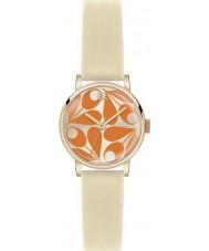 Orla Kiely OK2080 Patricia Panie krem pomarańczowy pasek skórzany zegarek