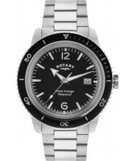 Rotary GB02694-04 Męskie zegarki oceanu mścicielem czarno-srebrny zegarek ze stali