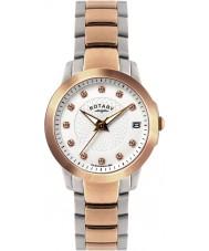 Rotary LB02837-41 zegarki damskie kamienia ustawić dwa stalowy zegarek tonu