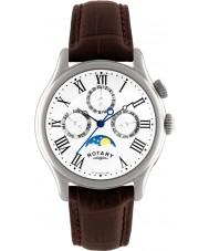 Rotary GS02838-01 zegarki męskie moonphase brązowy skórzany pasek zegarka