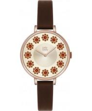 Orla Kiely OK2086 bluszcz Ladies Swarovski kwiatowa ustawić ciemnobrązowy pasek skórzany zegarek