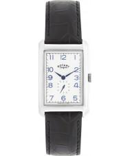 Rotary GS02697-21 Męskie zegarki Portland srebrny czarny skórzany pasek do zegarka