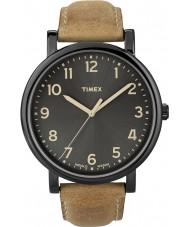 Timex T2N677 Mens black tan klasyczny okrągły zegarek