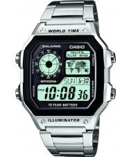 Casio AE-1200WHD-1AVEF Kolekcja czas światowy srebro stal zegarek
