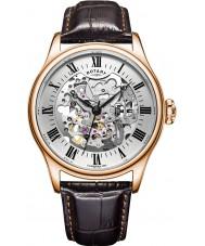 Rotary GS02942-01 zegarki męskie wzrosła pozłacany zegarek mechaniczny szkielet brązowy