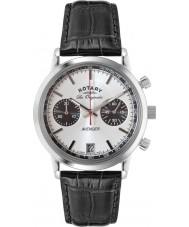 Rotary GS90130-06 Mężczyźni les originales sport mścicielem stal czarna Chronograph zegarek