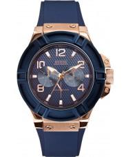 Guess W0247G3 Mężczyźni rygor niebieski pasek silikonowy zegarek
