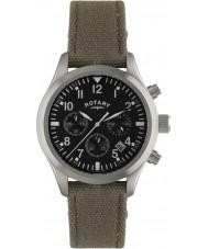 Rotary GS02680-19 Męskie zegarki Pilot Chronograph khaki pasek płótna zegarek