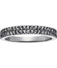 FROST by NOA 145043-56 Panie rodowane pierścień z dwoma rzędami CZ - wielkość p