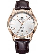Rotary GS90164-02 Mężczyźni les originales tradycja automatyczne wzrosła pozłacane brązowy skórzany pasek zegarka