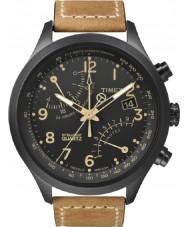 Timex T2N700 Mens black tan fly-back zegarek chronograf