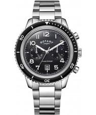 Rotary GB05021-04 Męskie zegarki oceanu mścicielem Chrono zegarek stal czarna