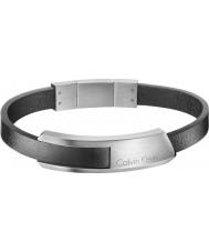 Calvin Klein KJ4MBB090100 Mężczyźni wpadać czarną skórzaną bransoletę
